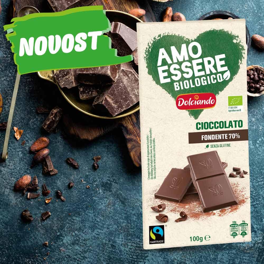 BIO temna čokolada s 70% kakava, AMO ESSERE BIO, 100 g