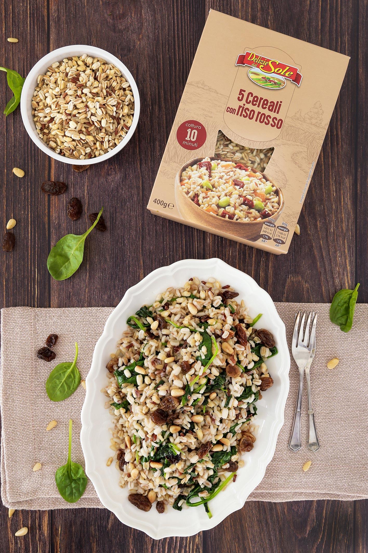 Solata s 5 vrstami žit z rdečim rižem