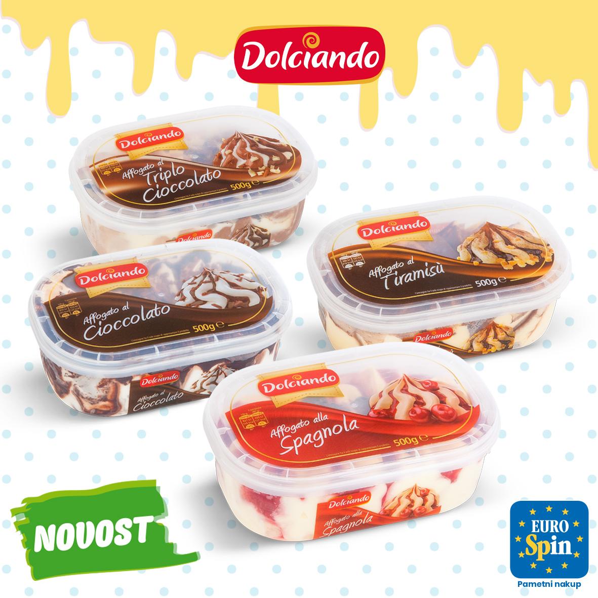 Sladoled v banjici s prelivom, DOLCIANDO, 500 g